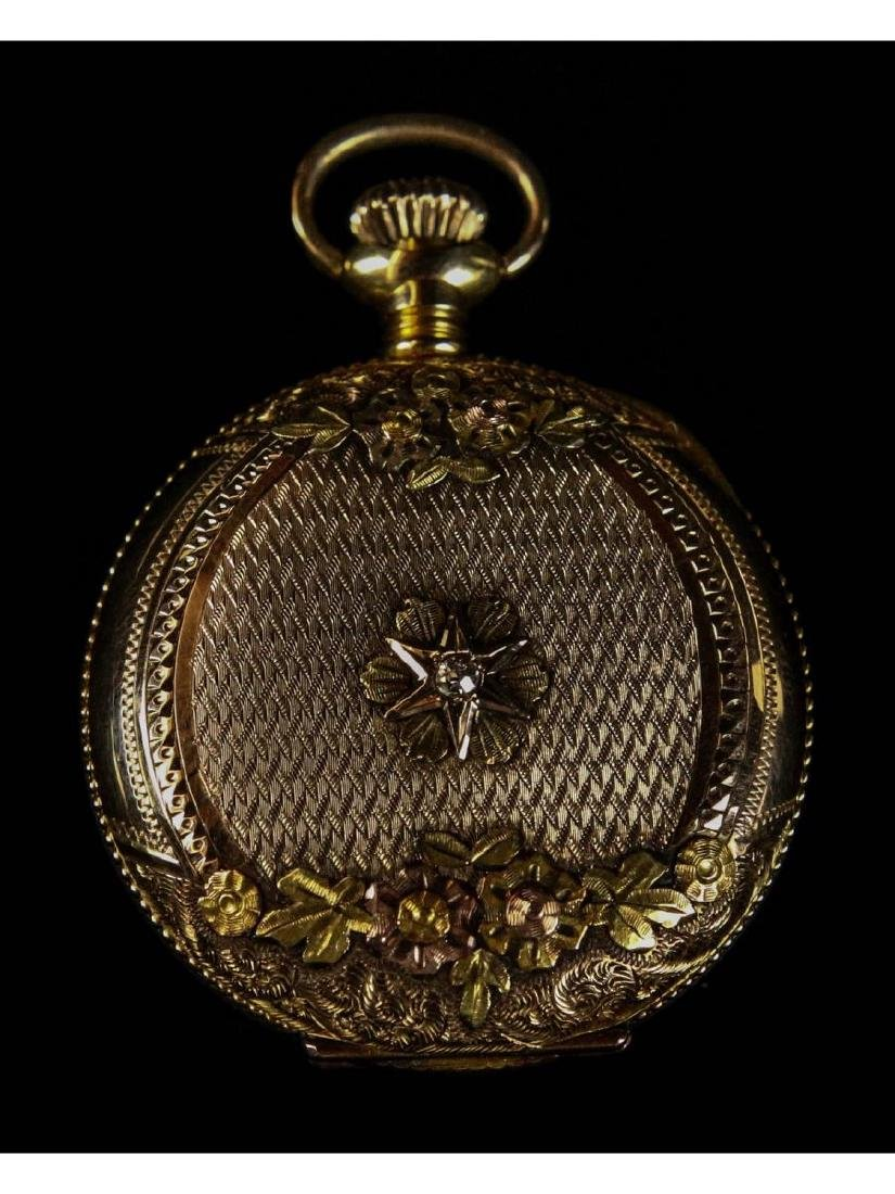 Elgin 14K Gold Pocket Watch with Diamond - 4