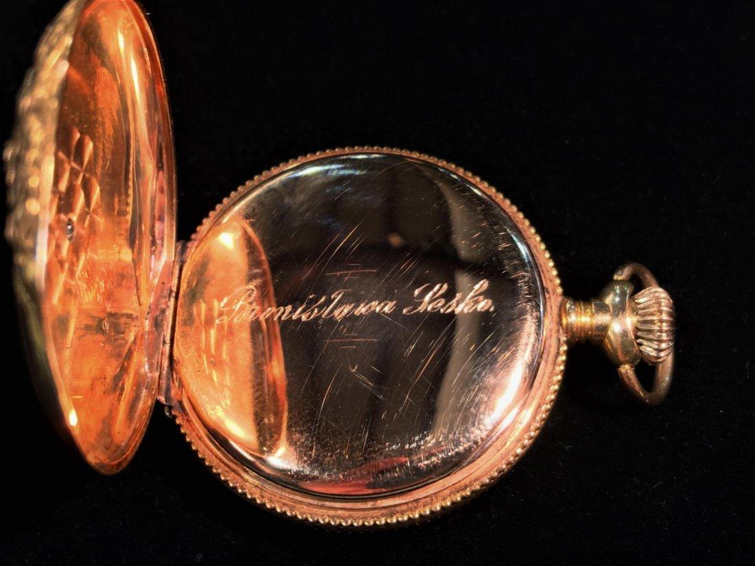Elgin 14K Gold Pocket Watch with Diamond - 5
