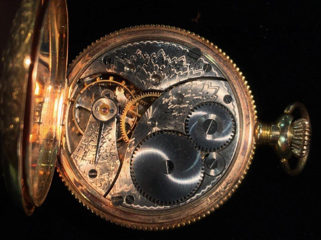 Elgin 14K Gold Pocket Watch with Diamond - 7