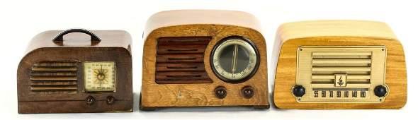 Firestone, Emerson (2) Wood Radios