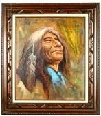 Framed Oil of Native American