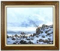 Framed Oil of Western Landscape