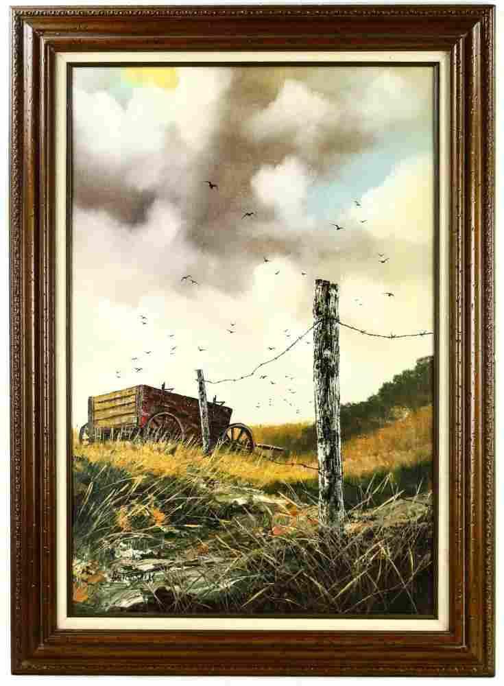 Framed Oil of a Surreal Landscape