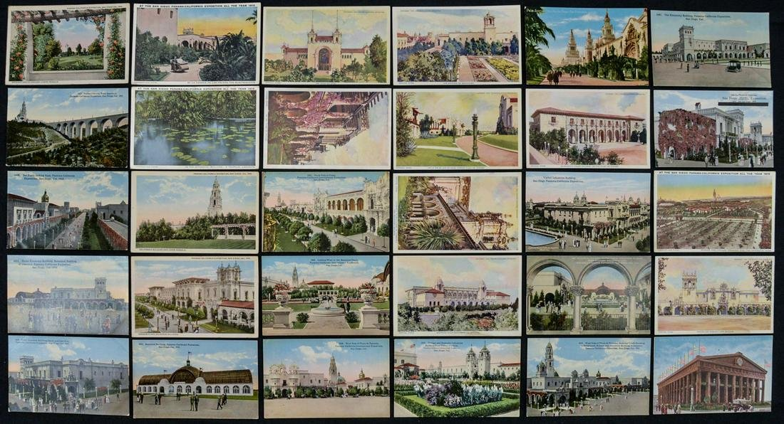 Lot of 30 Panama Pacific Exposition Postcards