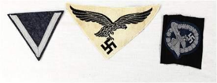 Lot of 3 WWII German Luftwaffe Cloth Insignia