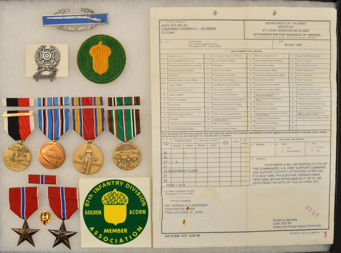 WWII US Army 87th Infantry Division Grouping
