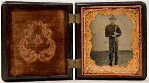 1/6 Plate Tintype of a Man with Rifle