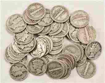 50 Mercury Dimes Silver Roll