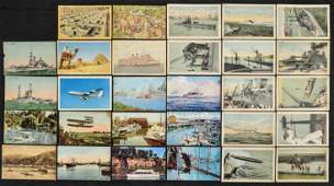 Lot of 30 Ships  Airplane Postcards