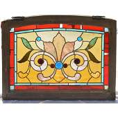 Antique Wood Frame Stain Leaded Glass Window