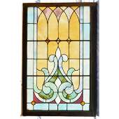 Antique Stain Leaded Glass Wood Frame Window