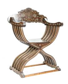Moorish Savonarola Mother of Pearl Chair