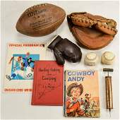 Vintage Sports Equipment and Signed Baseball
