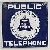 Metal Enameled Public Telephone Sign