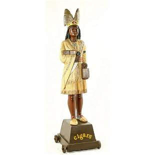 Carved Wood Cigar Store Figure Indian