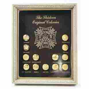 The Thirteen Original Colonies Framed Buttons
