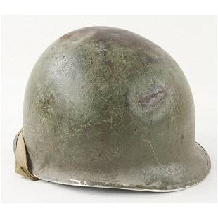 WWII M1 Helmet and Liner, Fixed Bale