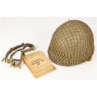 WWII US M1 Helmet & Field Manual