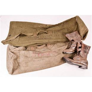 Lot of WWII Boots and 2 Duffel Bags