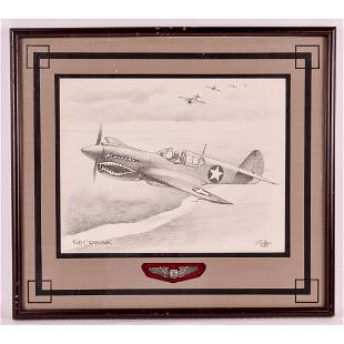 Hand Drawn P-40 Picture w/ Pilot's Wings