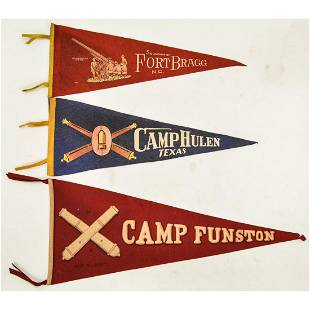Lot of 3 US Military Triangle Pennants