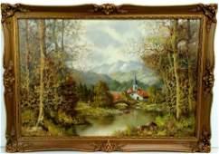 Baumann Framed Oil Painting on Canvas