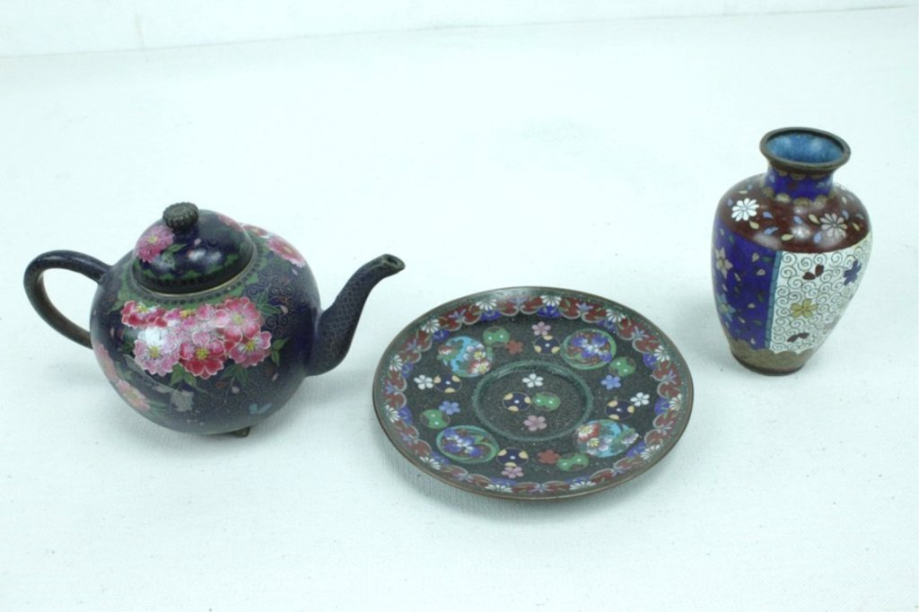 3 Pieces Of Late 20th Century Asian Cloisonne