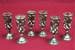 6 Six Sterling Silver Cordials with Glass Inserts