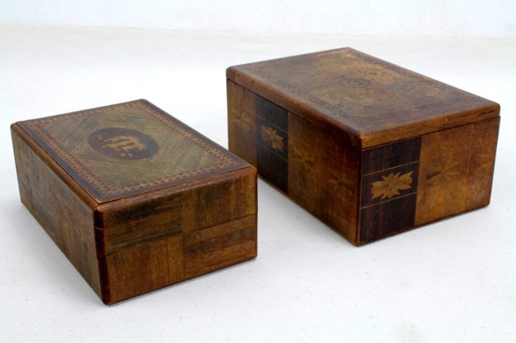 2 Two Antique Inlaid Wood Puzzle Boxes