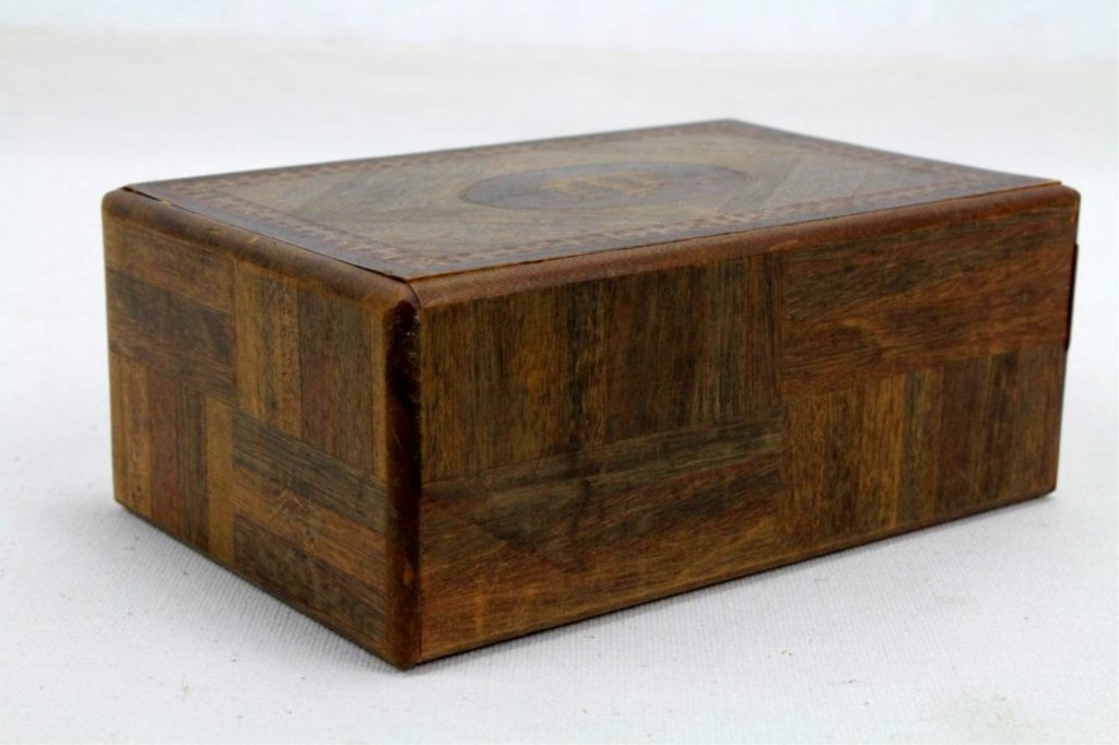 2 Two Antique Inlaid Wood Puzzle Boxes - 3