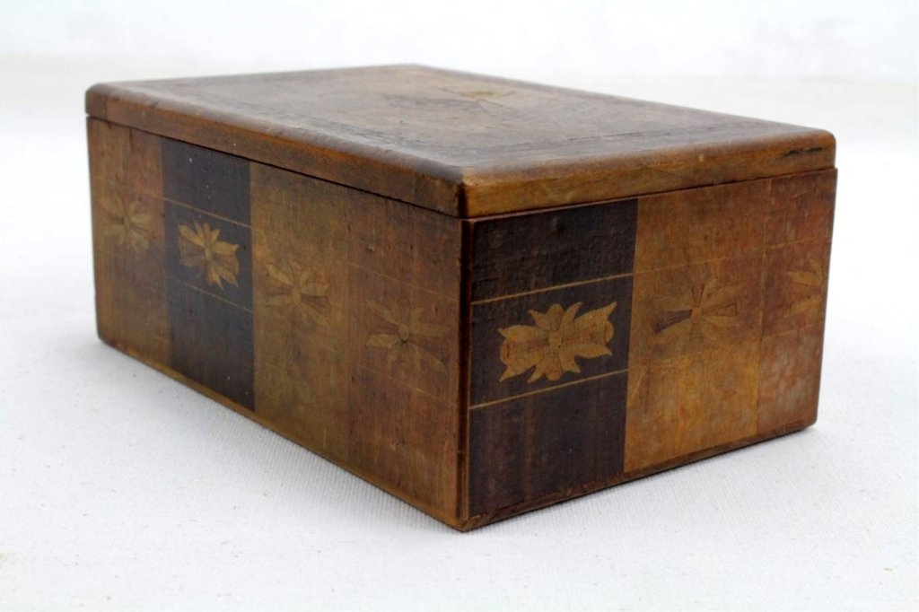 2 Two Antique Inlaid Wood Puzzle Boxes - 7