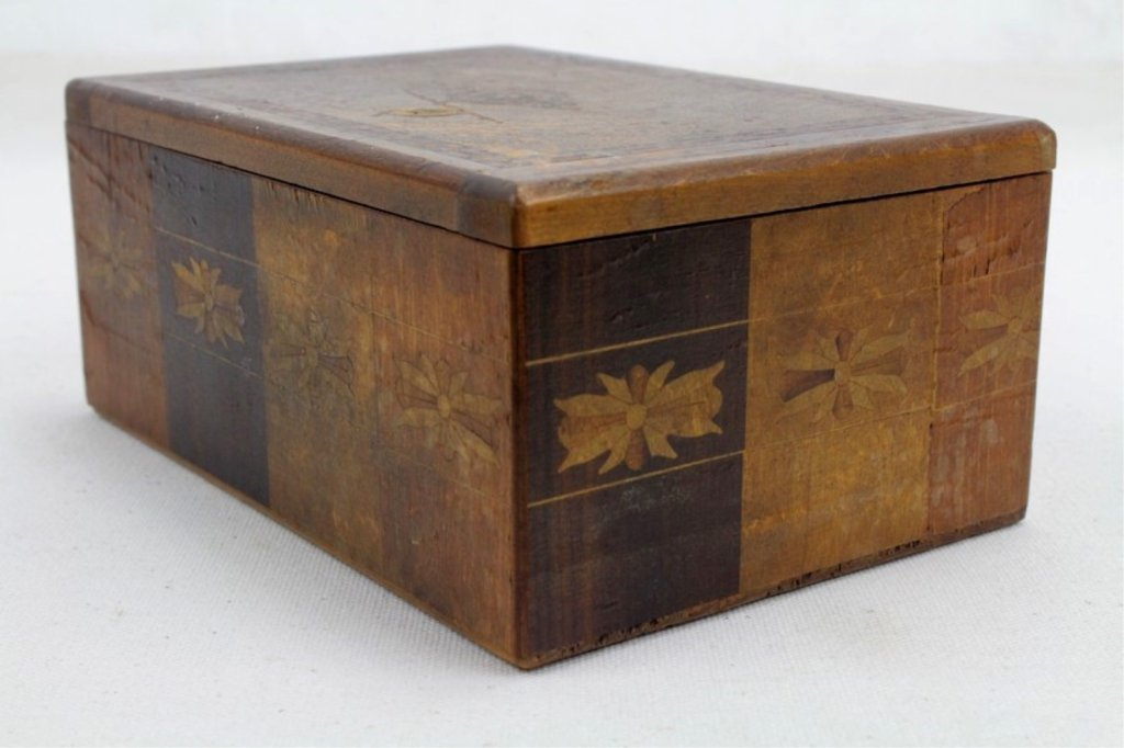 2 Two Antique Inlaid Wood Puzzle Boxes - 9