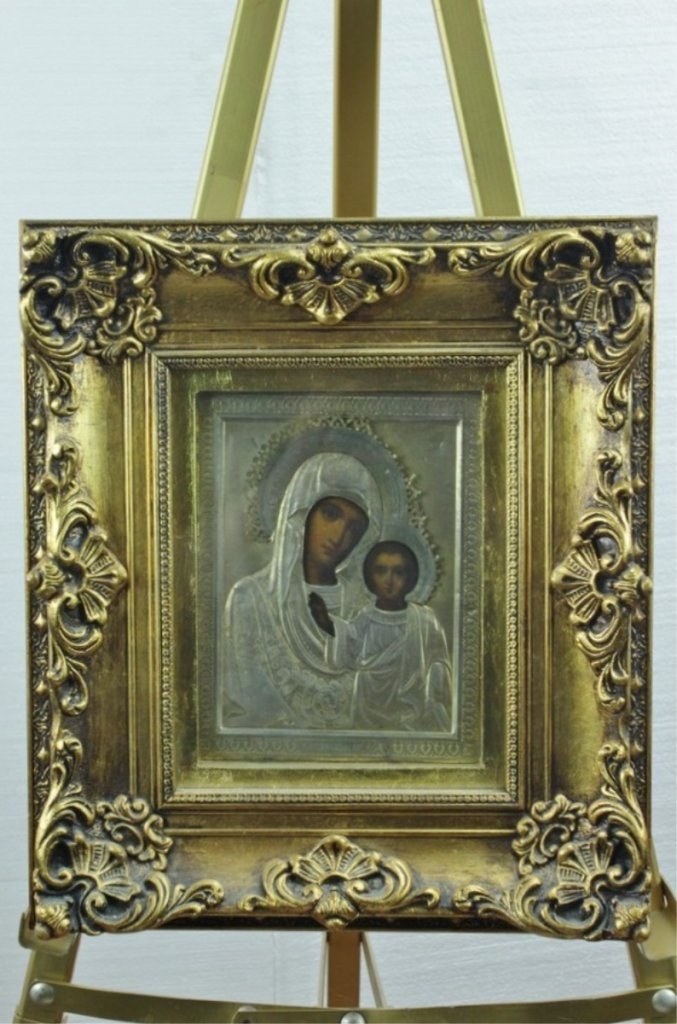 Early 20th Century Russian 84 Silver Icon on Wood