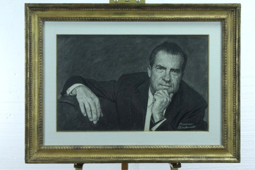 Norman Rockwell Original Charcoal Drawing of Nixon