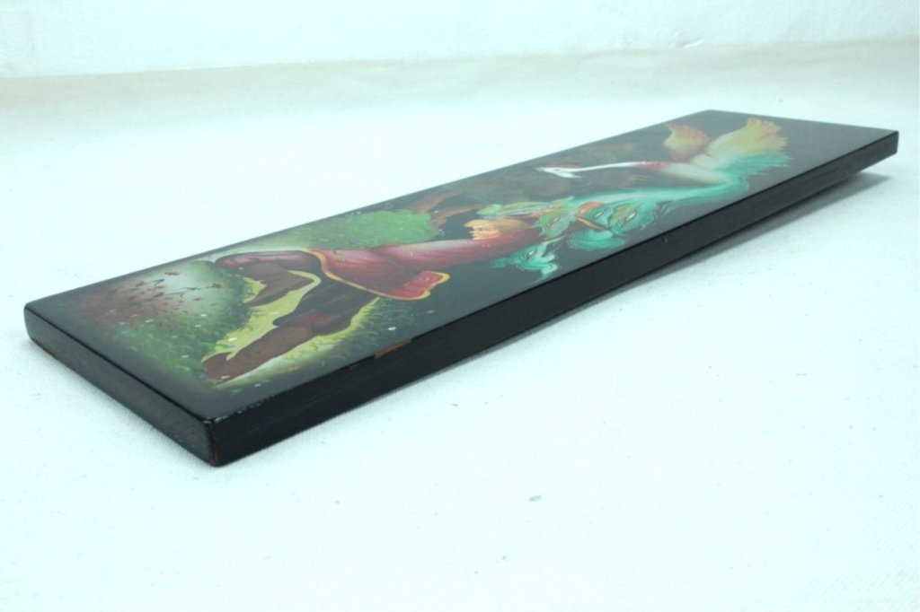 Russian Lacquered Wall Plaque Decorated with - 5