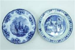 Two Antique Blue And White Porcelain Plates
