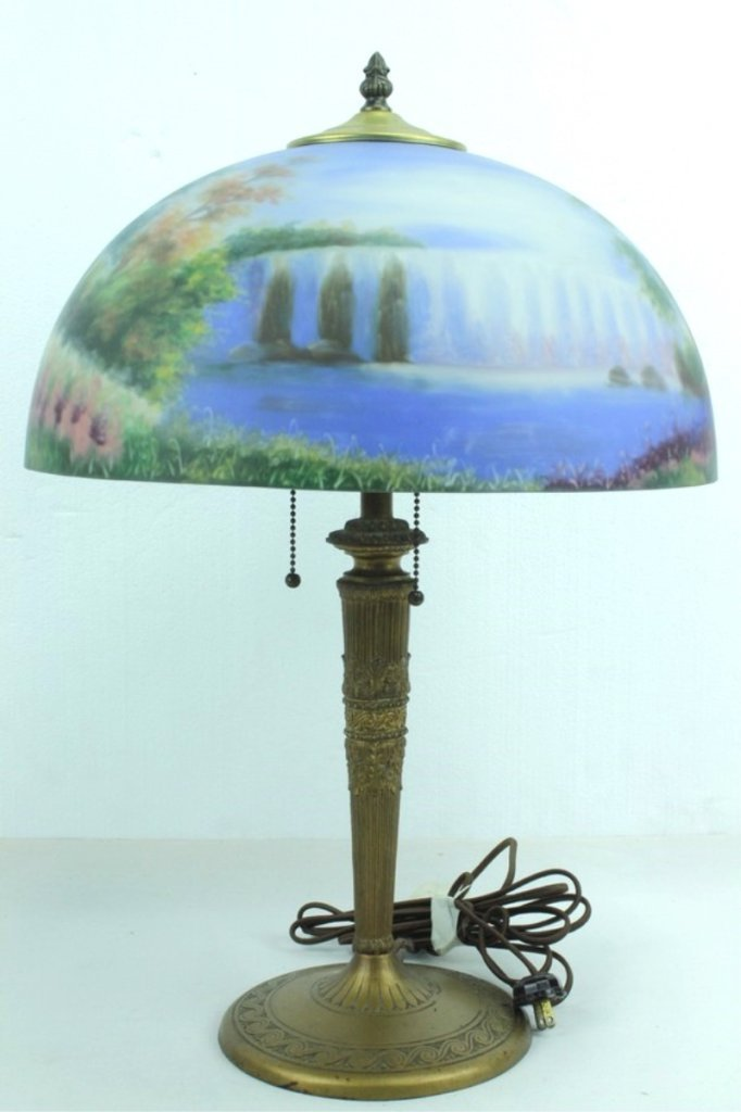 Antique Lamp Base With Hand Painted Shade