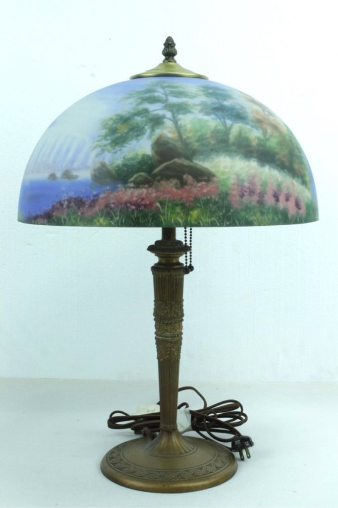 Antique Lamp Base With Hand Painted Shade - 2