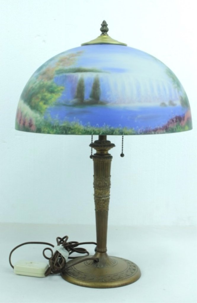 Antique Lamp Base With Hand Painted Shade - 3