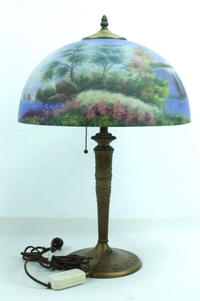 Antique Lamp Base With Hand Painted Shade - 4