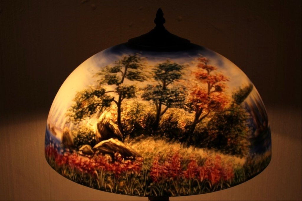 Antique Lamp Base With Hand Painted Shade - 5
