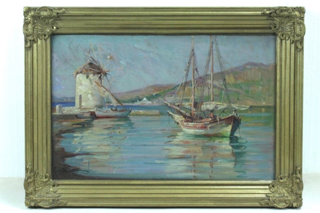 Unknown Artist Greek Oil Painting On Board
