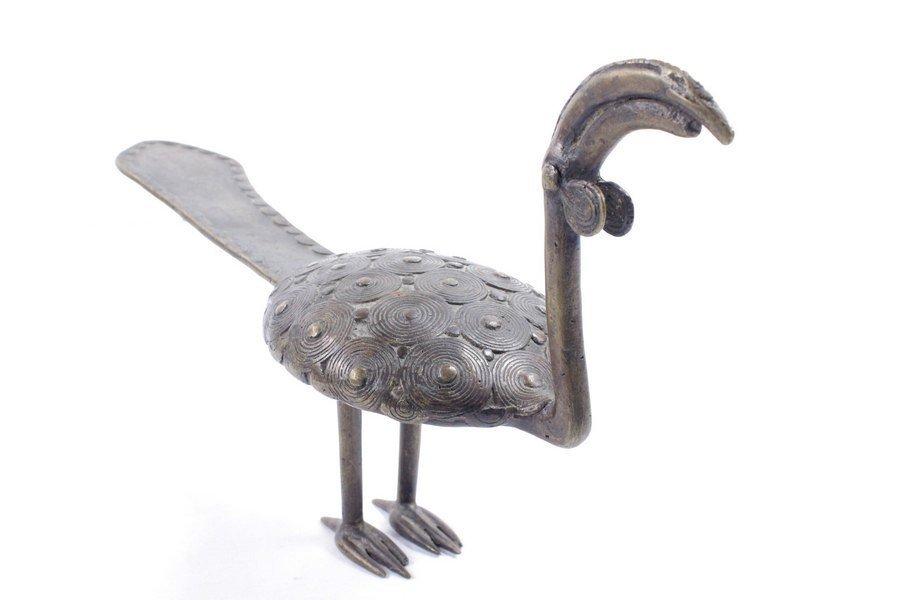 Contemporary Bronze Sculpture of a Peacock