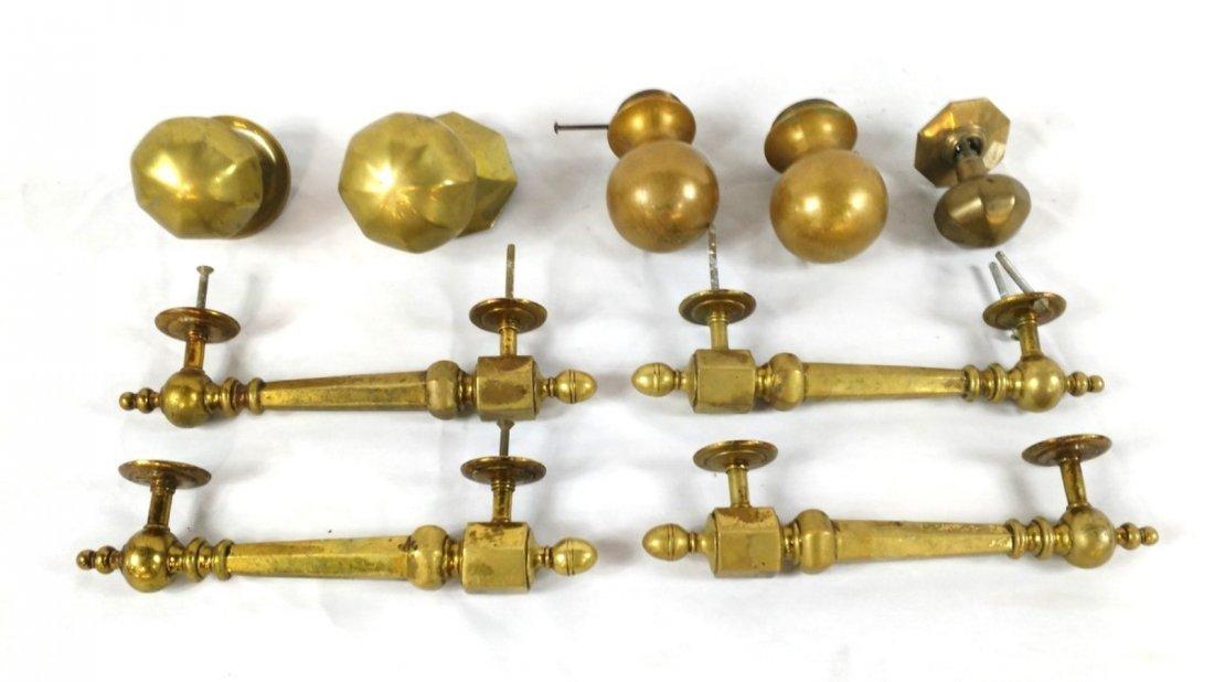 Lot of 9 Antique Brass Door Handles, Knobs, Pulls