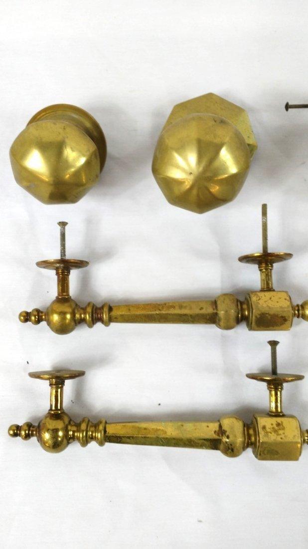 Lot of 9 Antique Brass Door Handles, Knobs, Pulls - 2