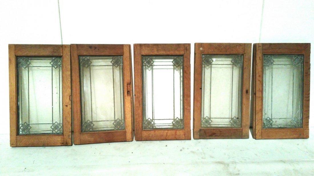 (5) Small Decorative Leaded Glass Window Panes