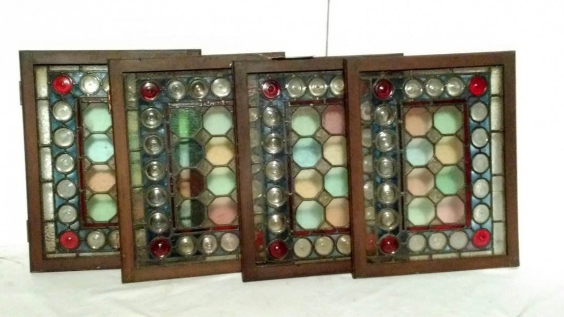 (4) Small Abstract Circles Stained Glass Windows