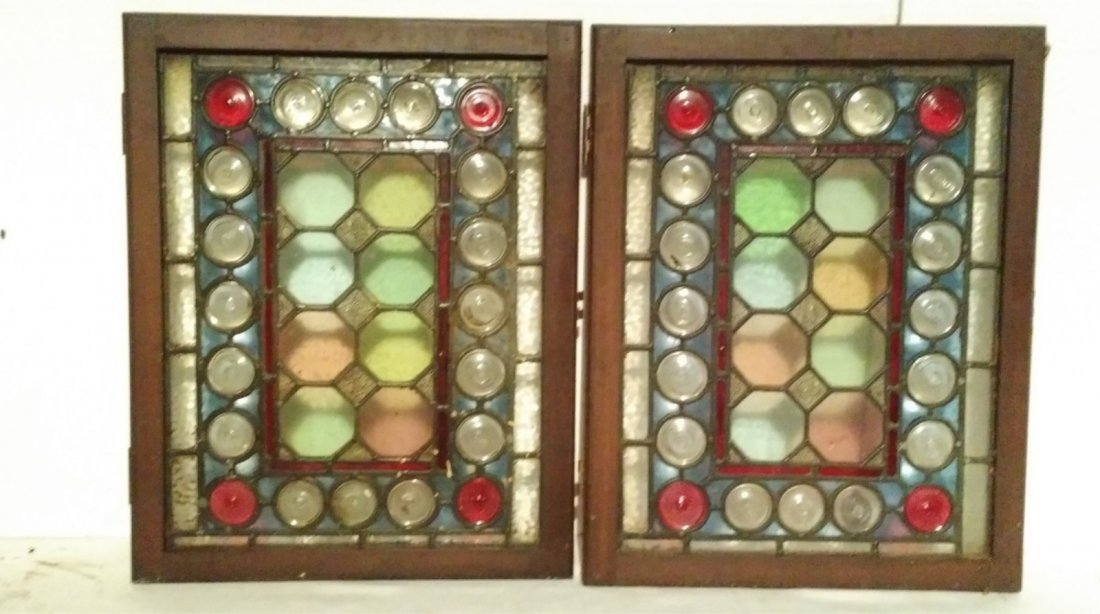 (4) Small Abstract Circles Stained Glass Windows - 2