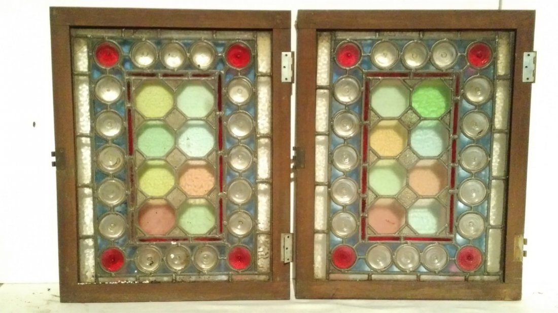 (4) Small Abstract Circles Stained Glass Windows - 3