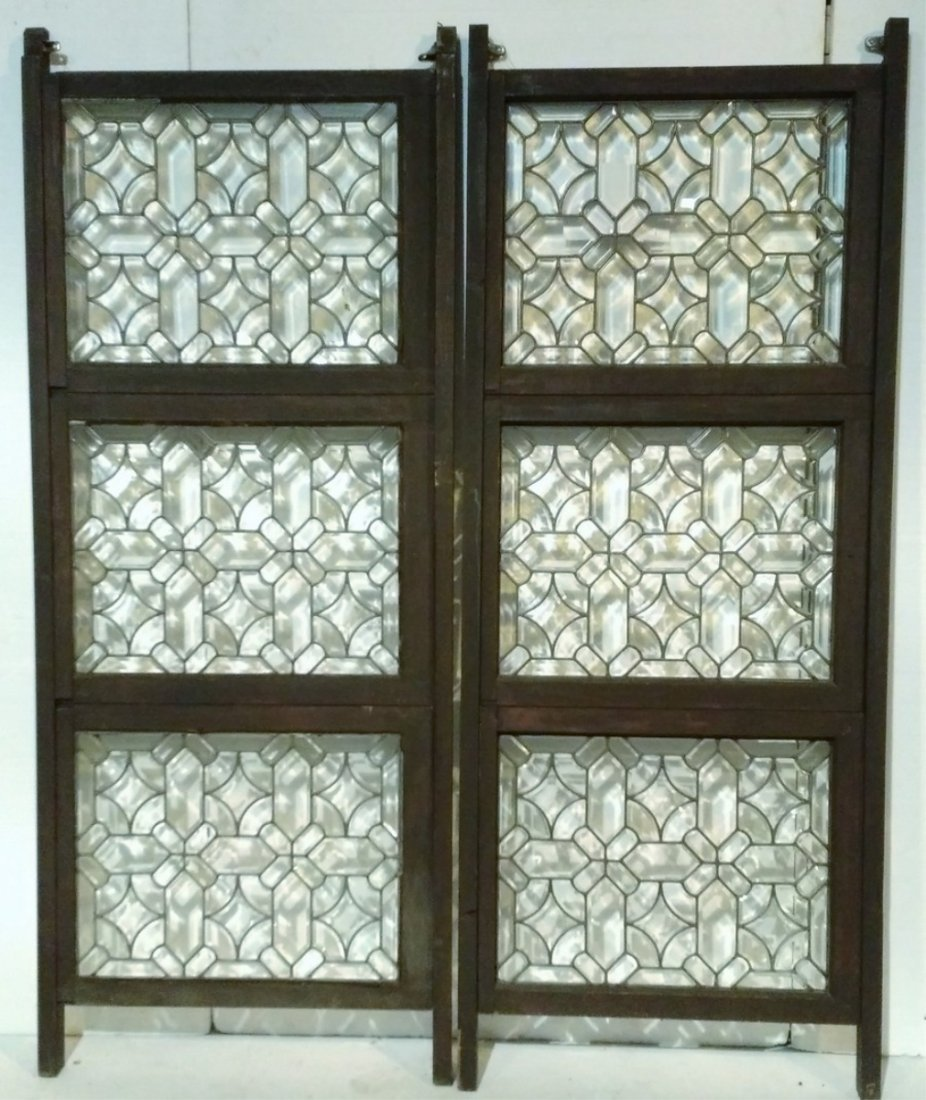 Pair of 3 Panel Beveled Leaded Glass Room Dividers